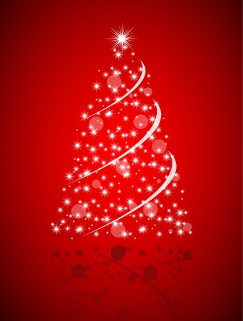 Christmas tree from stars on red background Illustration