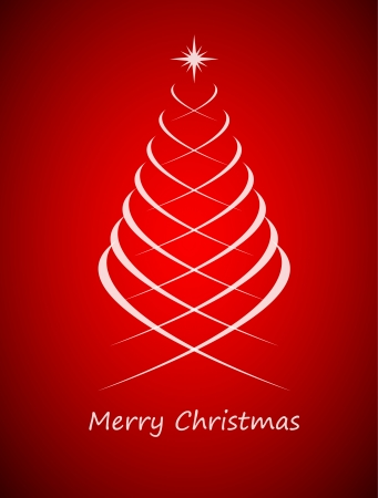 fonts year: Simple christmas tree on red background, merry christmas card