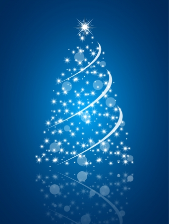 Simple christmas tree on blue background, merry christmas card