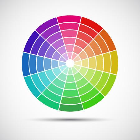 Paleta redonda de color sobre fondo gris, ilustración vectorial