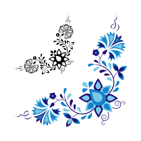 Traditional folk ornament and pattern isolated on white background Vector