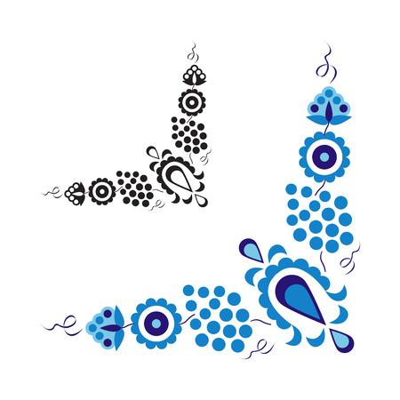 흰색 배경에 고립 된 전통 민속 장식 및 패턴