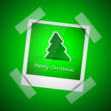 Green picture of merry christmas, christmas tree and new year 2013