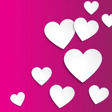 Happy Valentines day, vector simple paper hearts on pink background