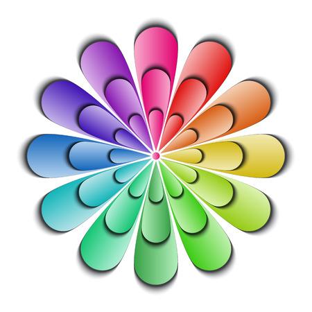 Kleur abstracte bloem op een witte achtergrond, vector illustratie