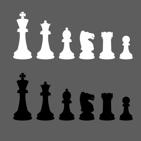 chess knight: Juego completo de vectores de siluetas piezas de ajedrez