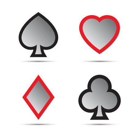 Playing card symbols isolated on white background Illustration