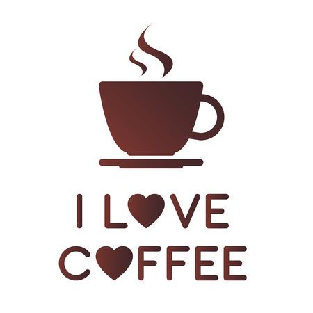 Ich liebe Kaffee, eine Tasse Kaffee Illustration