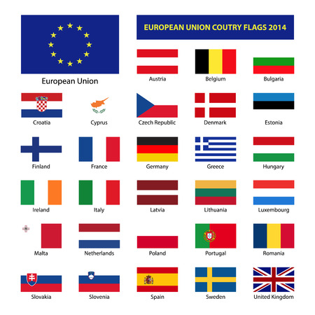European Union country flags 2014, member states EU Vector