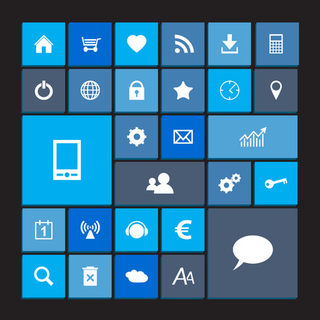 website window: Set of blue metro icons