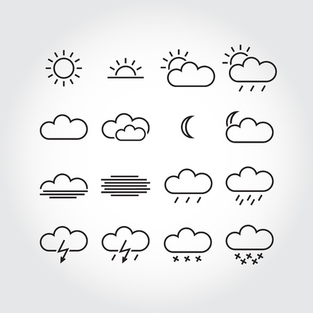 Simple weather icons, minimalistic vector icons