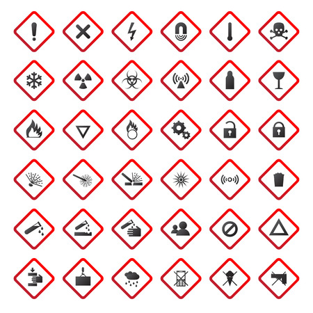 chemical weapon: Warning and danger signs collection isolated on white background