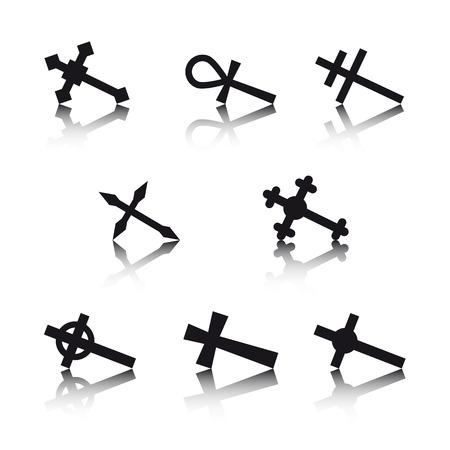 croix de fer: Collection de croix isol� sur fond blanc