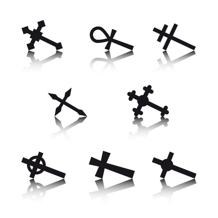 Collection of crosses isolated on white background Vector
