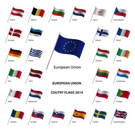 Banderas 2014 los países de la Unión Europea, los estados miembros de la UE Foto de archivo - 30555363