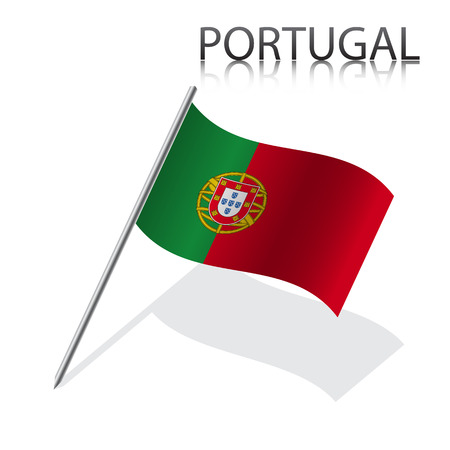 Realistic  Portuguese flag, vector illustration Vector