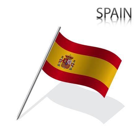 bandiera spagnola: Realistica bandiera spagnola, illustrazione vettoriale