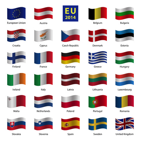 Set od European Union country flags Çizim