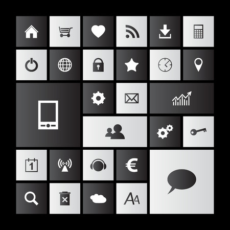 Set of black and white metro icons Vector