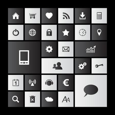 Set of black and white metro icons
