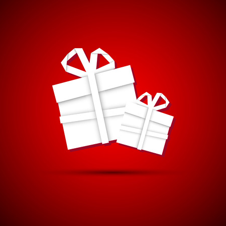 Christmas gift from white paper, new year card, red background Illustration