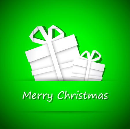 Origami christmas tree, simple merry christmas green card Vector