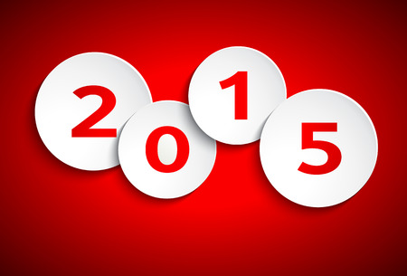 Happy New Year 2015, simple paper circles Illustration