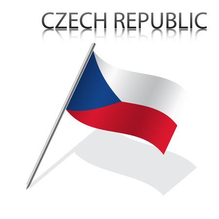 czech flag: Realistica bandiera ceca, illustrazione vettoriale
