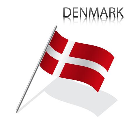 Realistic Danish flag, vector illustration Vettoriali