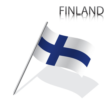 finnish: Realistic Finnish flag, vector illustration