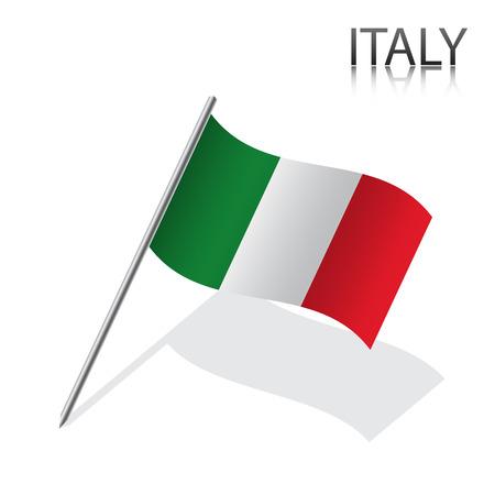 bandera de italia: Realista bandera italiana, ilustración vectorial