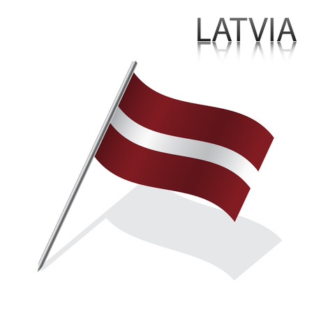 mexico flag: Realistic Latvian flag, vector illustration