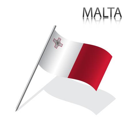 maltese: Realistic Maltese flag, vector illustration
