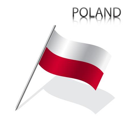 bandera de polonia: Bandera polaca realista, ilustración vectorial