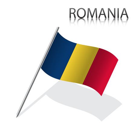 romanian: Realistic Romanian flag, vector illustration