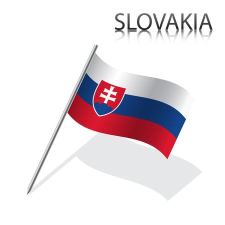 slovak: Realistic Slovak flag, vector illustration