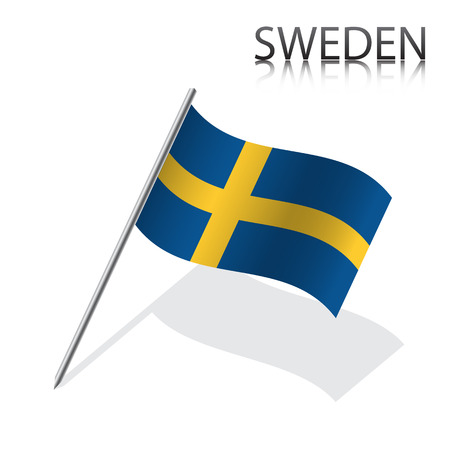 sweden flag: Realistic Swedish flag, vector illustration