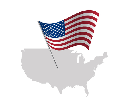 United States Of America flag with USA map