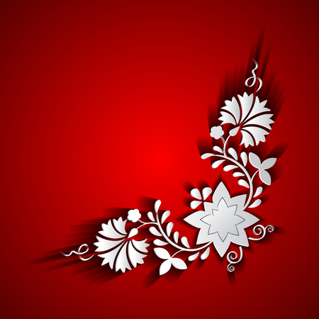 Abstract paper floral ornament on red background
