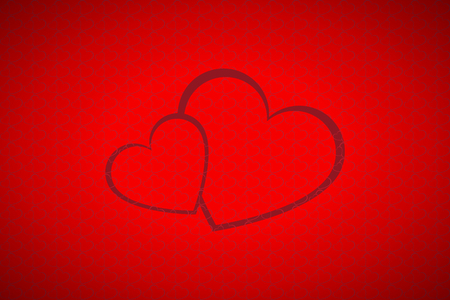white symbol: Valentines background, simple two hearts Illustration