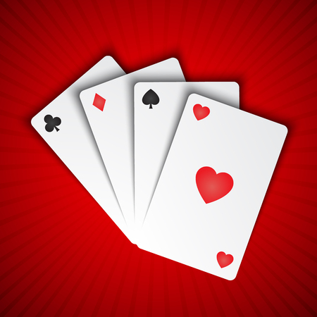 playing cards on red background  イラスト・ベクター素材