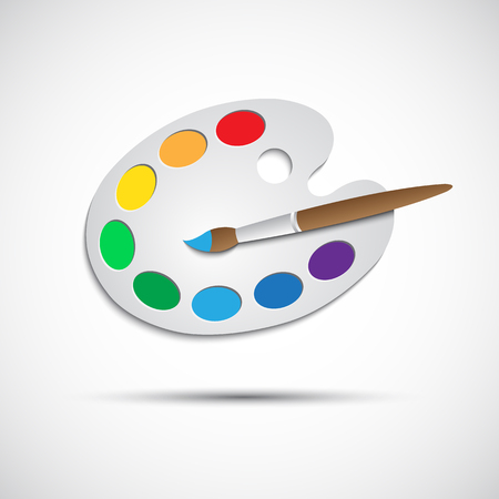 Modern art palette with brush and eight colors