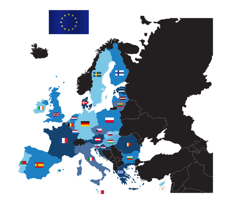 European Union map with flags of member countries