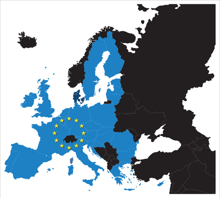 europeans: European Union map with stars of the European Union