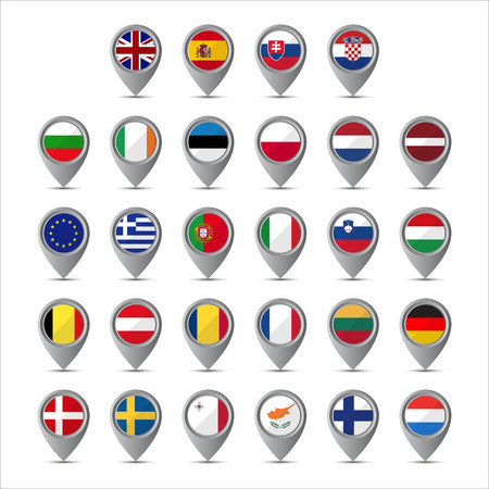 3d pointer: 3D pointer with the flags of European Union isolated on white background