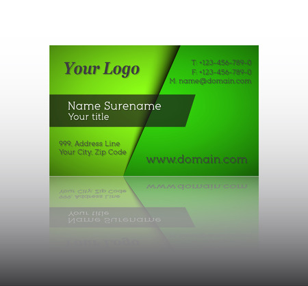 green card: Illustration of modern green business card