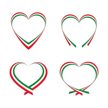 bandera italiana: Corazones abstractos con los colores de la bandera italiana Vectores
