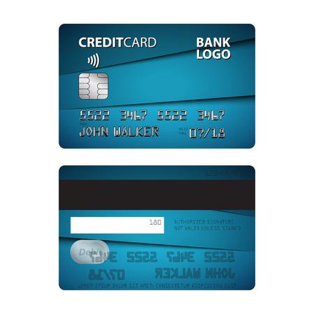 Illustration de bleu carte de crédit isolé sur fond blanc