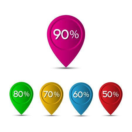 3d pointer: 3D pointer with the percentage discounts isolated on white background Illustration