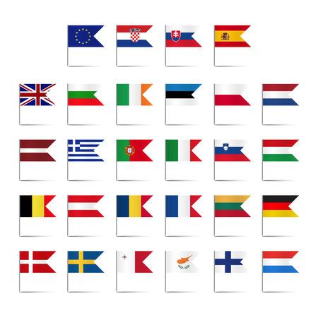 Set of colored mini flags of the European Union Illustration